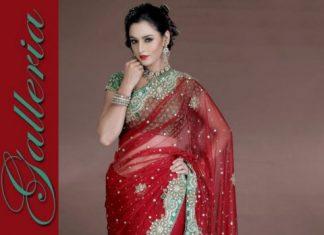 Red Zardosi Bridal Wedding Dulhan Saree Design 2013