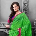 Fashionable Green Saree Draping Styles