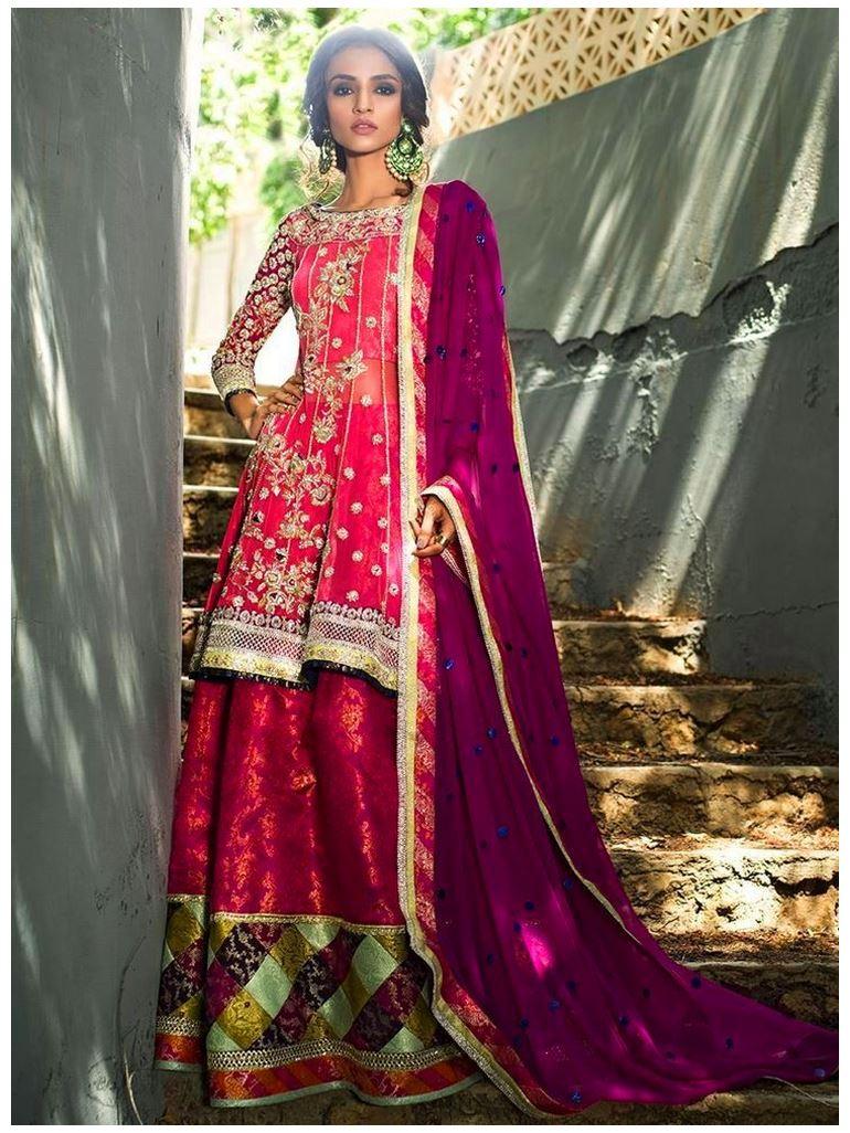 Zainab Chottani Melon-pink-symphony weddign Dresses